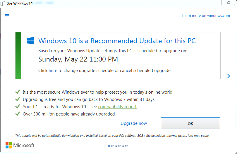 New Windows 10 upgrade prompts on Windows 7 and Windows 8 now turn the close button into a confirmation. Image credit: PCWorld
